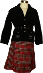 Faux wrap plaid skirt and jacket