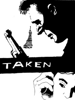 Taken (2008) movie review and original artwork