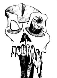 sams macabre skull bw