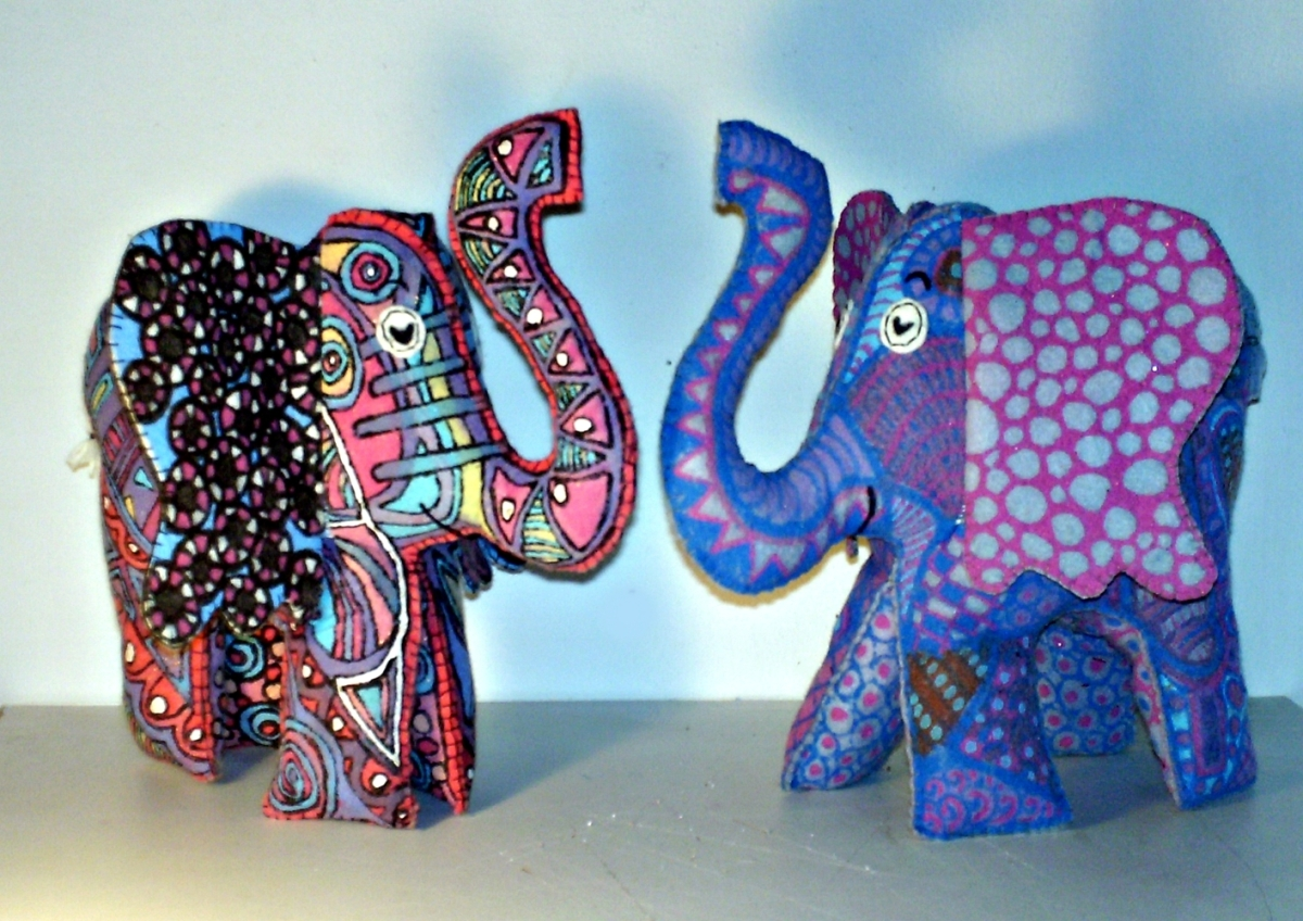 Art the Elephant and Peanut Circus hand painted and hand sewn from recycled material