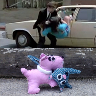 There is a scene with Mr. Pink, played by Steve Buscemi, pulling a woman out of a car when he was running away from the cops. This scene was used in all the movie trailers. Below is a still shot from the movie. Below that is a photo of my version of Mr. Pink and a very surprised cat.