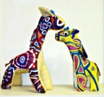 Two giraffes sewn from painted, recycled felt by Amy Lyn Kench